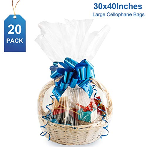 Large Cello/Cellophane Bags,30x 40 Inches Easter Clear Basket Bags OPP Plastic Cellophane Wrap f ...
