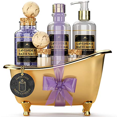 Deluxe Spa Gift Basket for Women [With Smokeless Candles] Calming Lavender Scent, All-Natural Sp ...