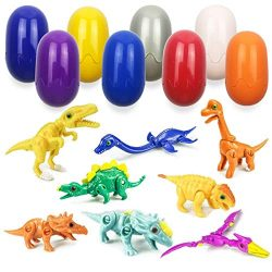 QINGQIU 8 Pack Mini Dinosaur Deformation Toys in Easter Eggs for Kids Boys Girls Easter Gifts Ea ...