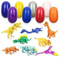 QINGQIU 8 Pack Mini Dinosaur Deformation Toys in Easter Eggs for Kids Boys Girls Easter Gifts Ea ...