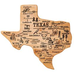 YOUIN Texas State Shaped Bamboo Serving and Cutting Board, Texas State Gifts for Home, Office Wa ...