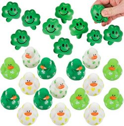 4E's Novelty Mini Shamrock Party Favors, 24 Shamrock Relaxable Balls, and 24 Mini Shamrock ...