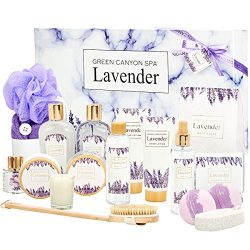 Green Canyon Spa 19 Pcs Lavender Spa Gift Baskets for Women Most Luxurious Christmas/Birthday Ba ...
