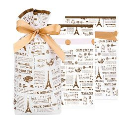 Eiffel Tower Printed Gift Wrapper Bags with Drawstring,Stand Up Treat Favor Bags 50 Pack, Plasti ...