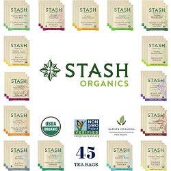 Stash Organic Tea Sampler – Assortment Variety Pack Gift Set – Black, White, Green & ...