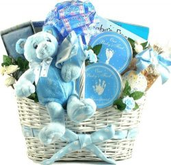 Deluxe Baby Boy Keepsakes Gift Basket with a Little Something for Mommy