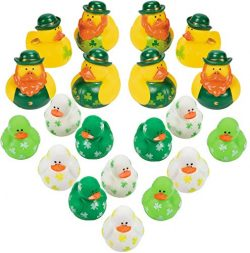 4E's Novelty Bulk 24 Mini St. Patrick's Rubber Duckies, Shamrock Rubber Ducks, Minia ...