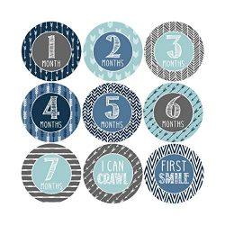 16 Blue Teal Baby Boy Milestone Stickers, 12 Monthly Photo Picture Props For Infant Onesie, Chal ...