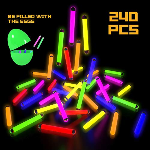 240 Pcs Mini Glow Sticks Bulk in 6 Colors, Easter Eggs Fillers for Kids, Glow-in-the-Dark Toy, B ...