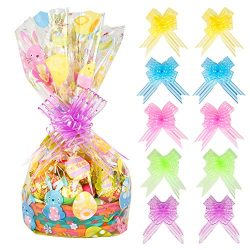10 Pack Easter Basket Bags Happy Easter Jumbo Cello Basket Bags 32 by 22 Inches Easter Bunny Wra ...