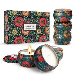 YMing Large Size Scented Candles Gifts Sets, Natural Soy Wax Aromatherapy Candles 6×6.5 Oz, ...