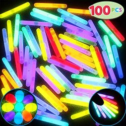 JOYIN 100 Mini 1.7″ Glow Sticks Bulk with 8 Colors for Glow Easter Eggs, Kids Glow-in-The- ...