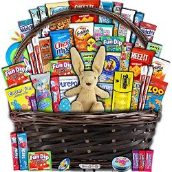 Easter Gift Basket for Kids and Adults (50ct) – Already Filled wrapped with Plush Easter B ...