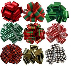 Christmas Gift Wrap Pull Bows – 5″ Wide, Set of 9, Metallic Red, Green, Gold, Stripe ...