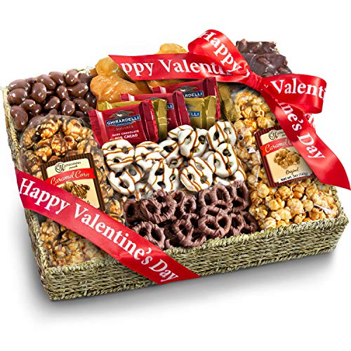 Valentine's Day Chocolate Caramel and Crunch Grand Gift Basket with Snacks, Pretzels, Ghir ...